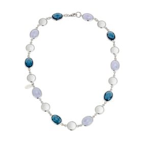 White Agate & London Blue Topaz Link Necklace