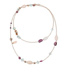 Pink Quartz Gemstone Long Necklace