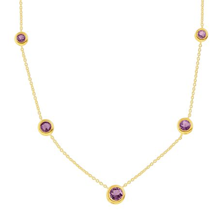 2 1/5 ct Amethyst Station Necklace