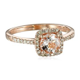 Morganite & 1/6 ct Diamond Halo Ring