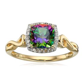 Mystic Fire Topaz Ring with Diamonds
