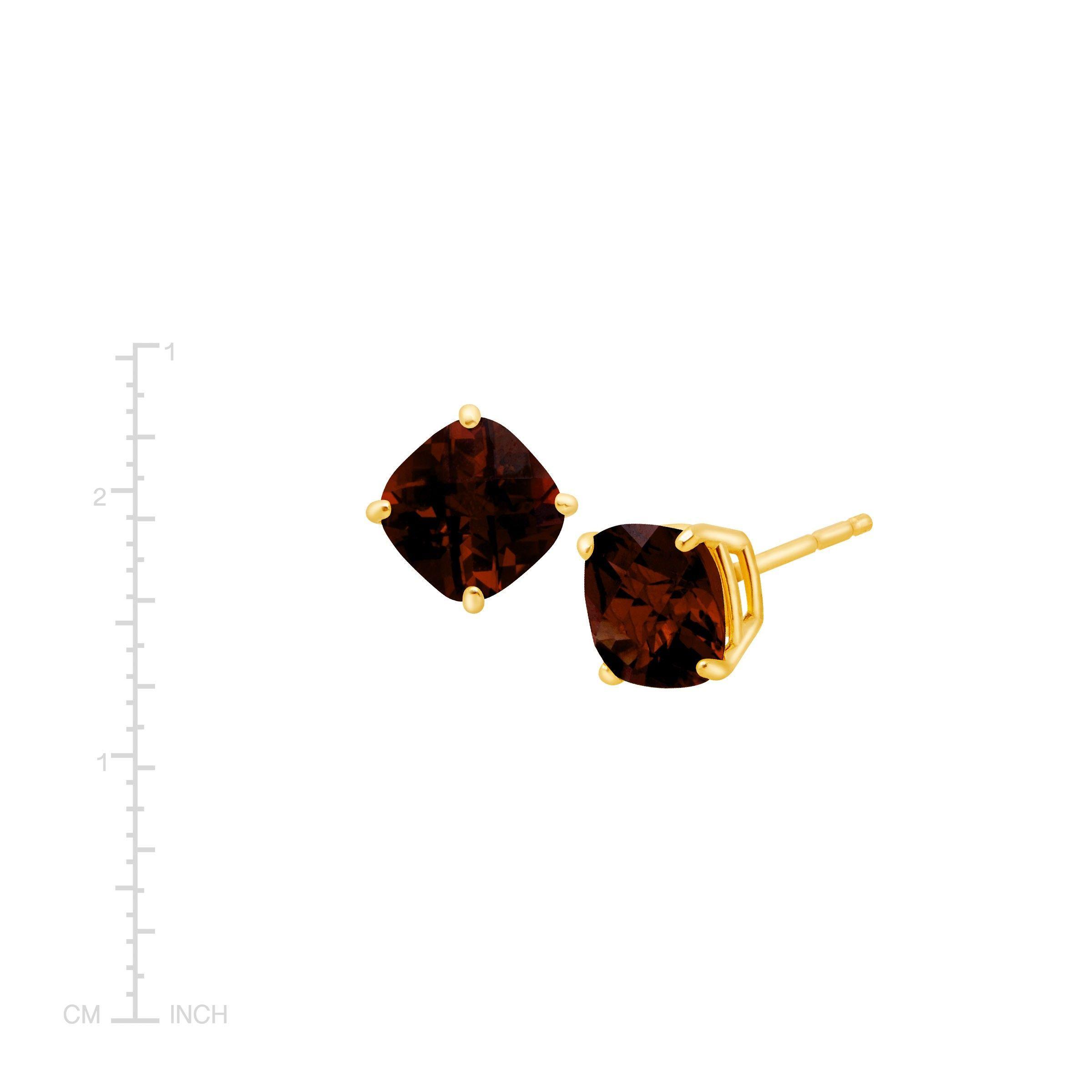 Cushion-Cut-Color-Stone-Stud-Earrings-in-14K-Gold thumbnail 23