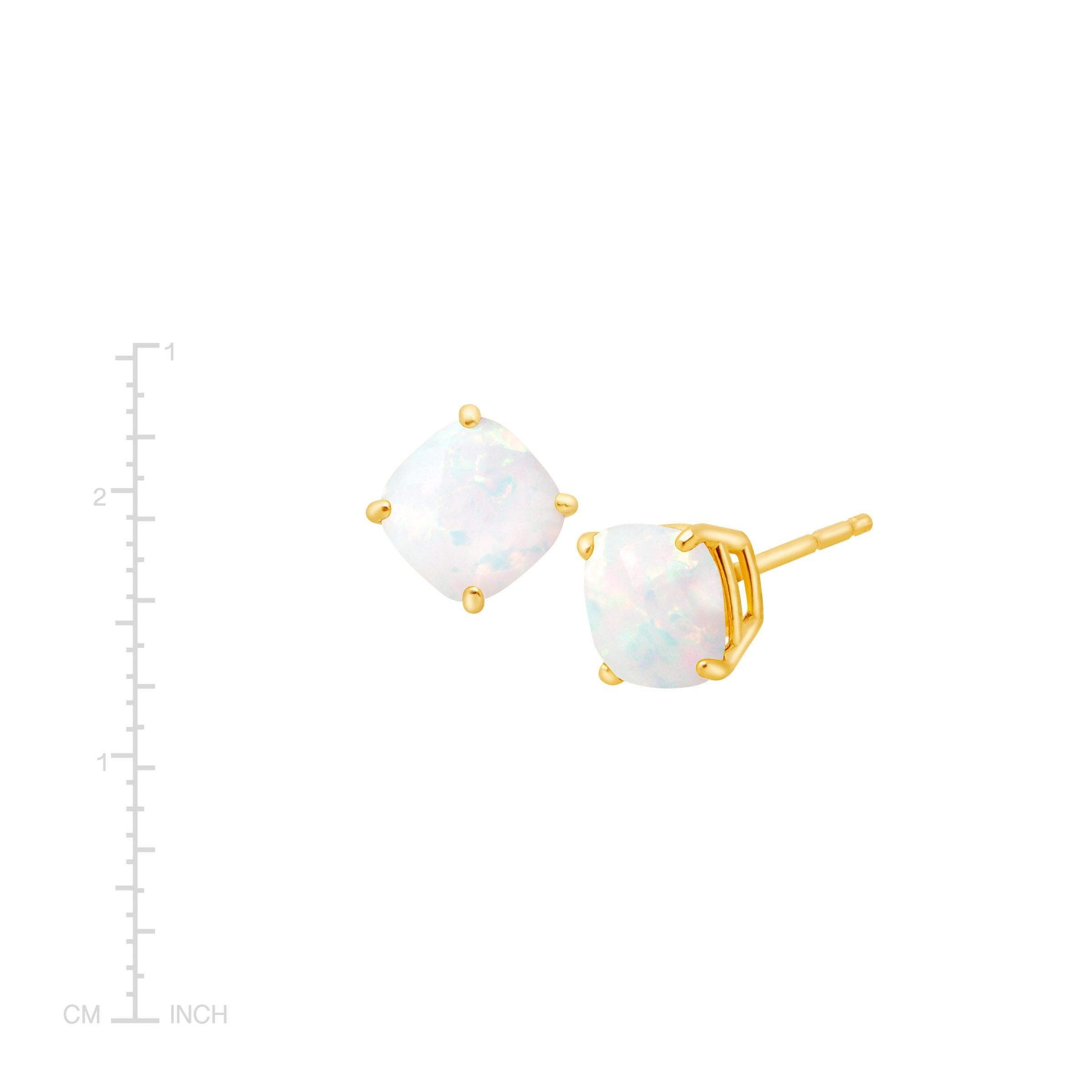 Cushion-Cut-Color-Stone-Stud-Earrings-in-14K-Gold thumbnail 28