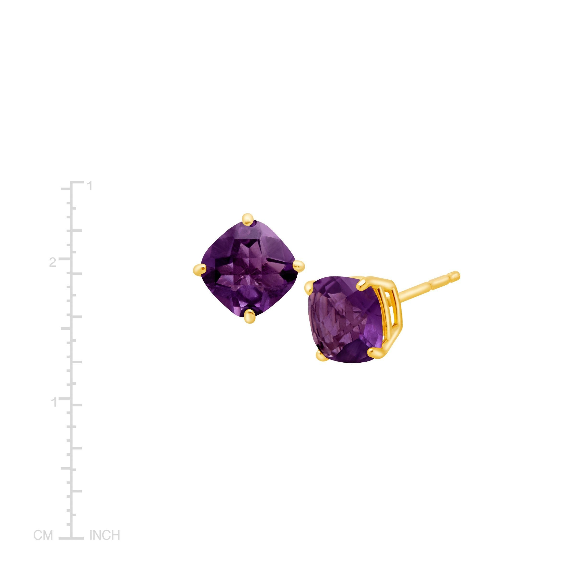 Cushion-Cut-Color-Stone-Stud-Earrings-in-14K-Gold thumbnail 8