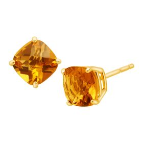 Cushion-Cut Citrine Stud Earrings