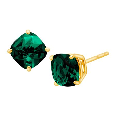 Cushion-Cut Emerald Stud Earrings