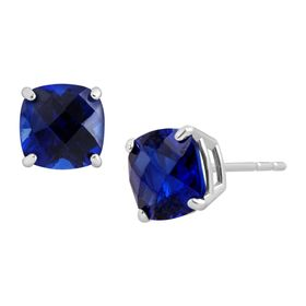Cushion-Cut Sapphire Stud Earrings