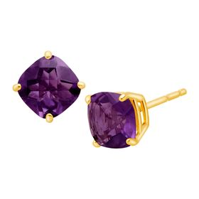 Cushion-Cut Amethyst Stud Earrings