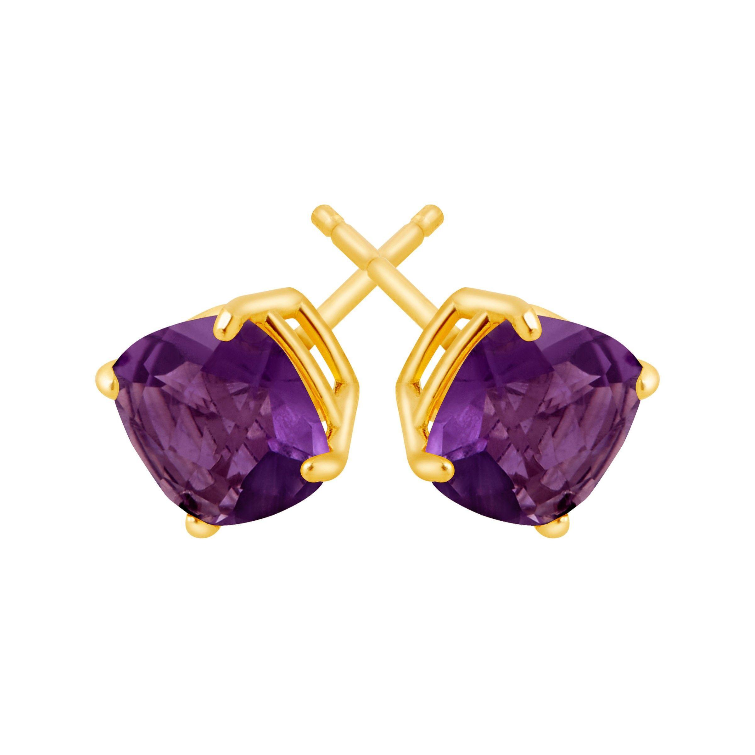 Cushion-Cut-Color-Stone-Stud-Earrings-in-14K-Gold thumbnail 7