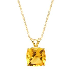 Citrine Cushion-Cut Birthstone Pendant
