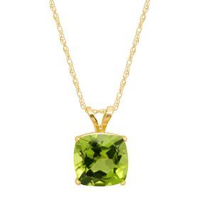 Peridot Cushion-Cut Birthstone Pendant