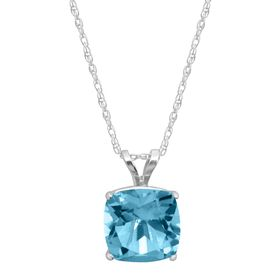 Blue Topaz Cushion-Cut Birthstone Pendant