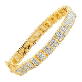 Square Link Tennis Bracelet with Diamonds, Yellow