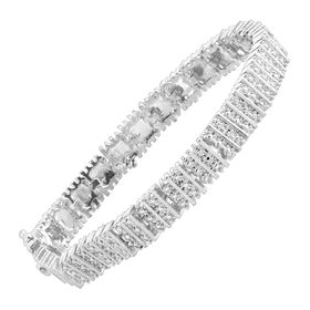 Square Link Tennis Bracelet with Diamonds