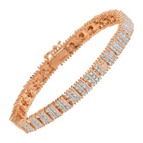 Square Link Tennis Bracelet with Diamonds, Pink