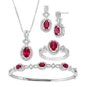 Ruby Pendant, Bracelet, Earring & Ring Set with Diamonds