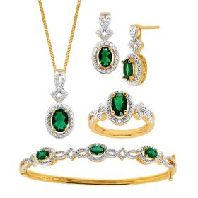 Emerald Pendant, Bracelet, Earring & Ring Set with Diamonds