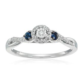 1/10 ct Diamond & Blue Sapphire Engagement Ring