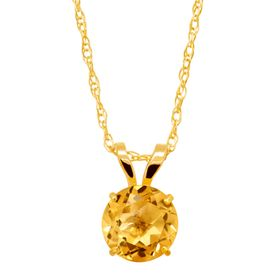 5/8 ct Citrine Round-Cut Solitaire Pendant