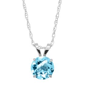 1 ct Swiss Blue Topaz Round-Cut Solitaire Pendant