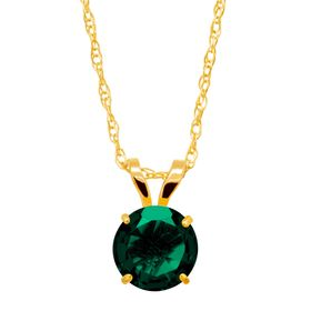3/4 ct Emerald Round-Cut Solitaire Pendant