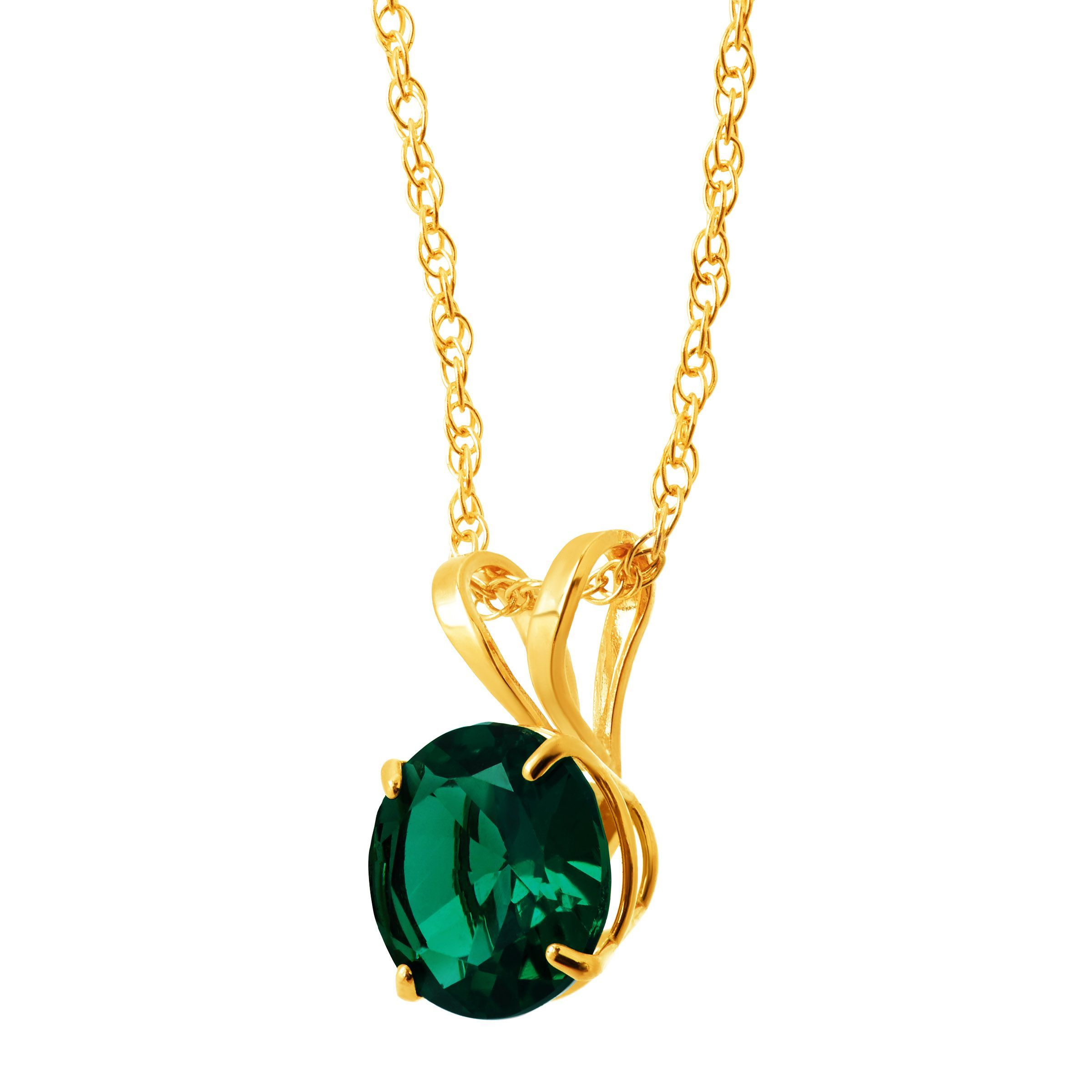 """18/"""" Round-Cut Solitaire Pendant in 10K Gold"""