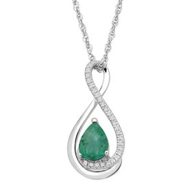 Emerald Teardrop Pendant with Diamonds