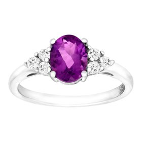 2 3/8 ct Amethyst & White Topaz Ring