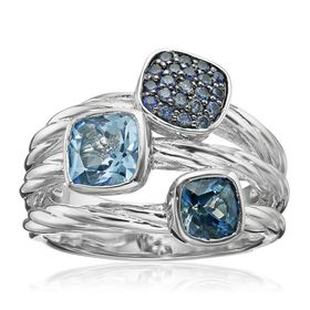 Blue Topaz & Sapphire Two-Tone Ring