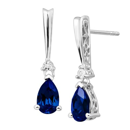 Ceylon Sapphire Tear Drop Earrings with Diamonds