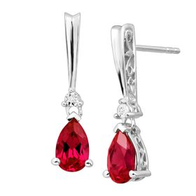 Ruby Tear Drop Earrings with Diamonds
