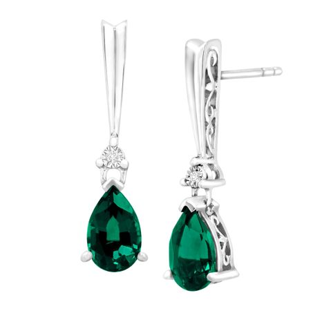 4972d78dc6819 Created Emerald Teardrop Earrings with Diamonds in Sterling Silver