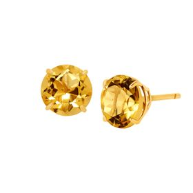 1 3/8 ct Citrine Round-Cut Stud Earrings