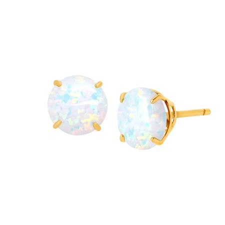 5/8 ct Opal Round-Cut Stud Earrings