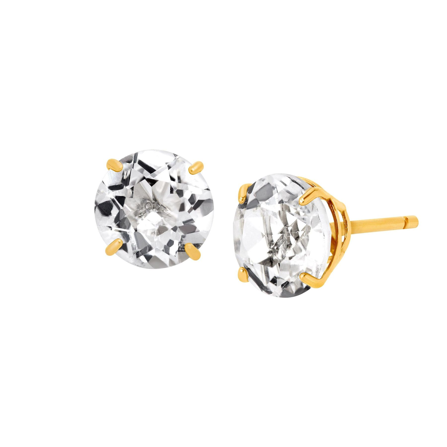 10k Yellow Gold Square Stud Earrings Clear White CZ~April Birthstone