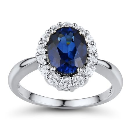 Blue & White Sapphire Halo Ring