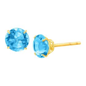 1 1/10 ct Swiss Blue Topaz Stud Earrings
