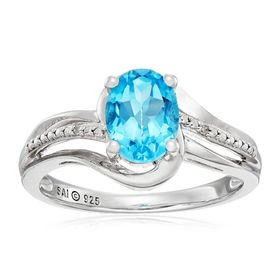 Swiss Blue Topaz Ring with Diamonds