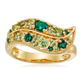 Mixed Green Leaf Ring with Swarovski Crystals