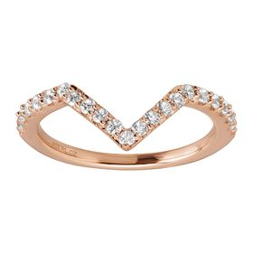 Chevron Ring with Cubic Zirconias, Rose