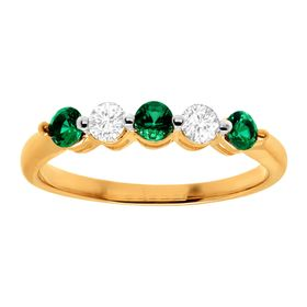1/2 ct Emerald & White Sapphire Band Ring
