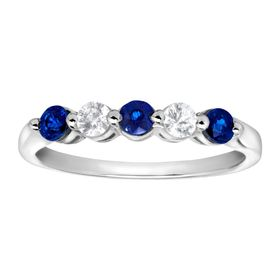 5/8 ct Blue & White Sapphire Band Ring