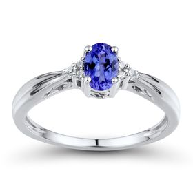 Iolite Ring with Diamonds