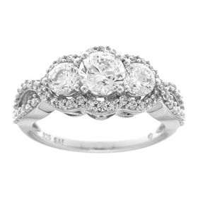 Trio Engagement Ring with Swarovski Zirconia
