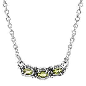 Simply Fabulous Peridot Three-Stone Smile Necklace