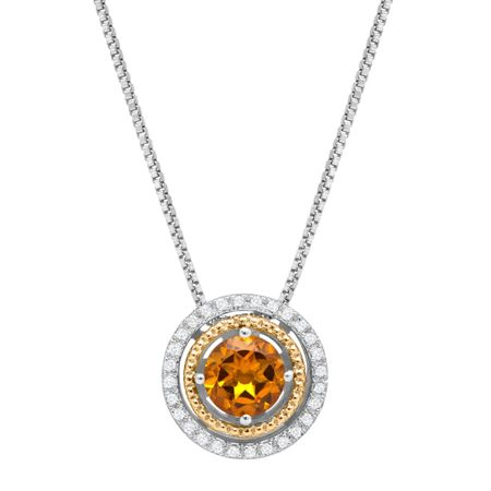 Citrine Double Halo Pendant with Diamonds