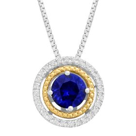 Sapphire Double Halo Pendant with Diamonds