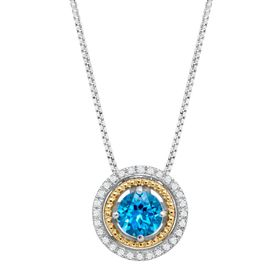 Swiss Blue Topaz Double Halo Pendant with Diamonds
