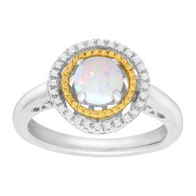 Opal Double Halo Ring with Diamonds