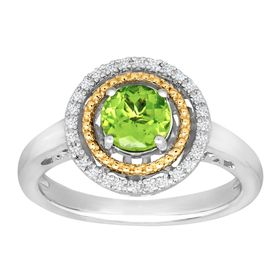 Peridot Double Halo Ring with Diamonds